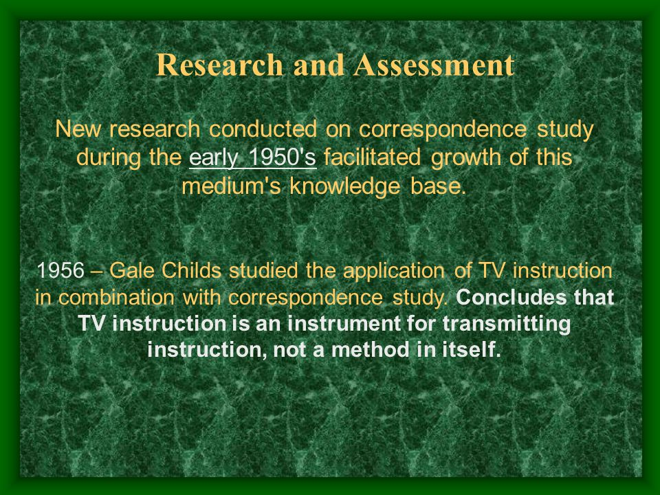 New research conducted on correspondence study during the early 1950 s facilitated growth of this medium s knowledge base.