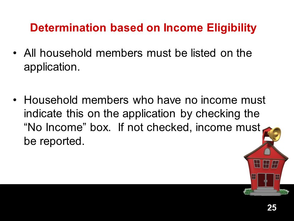Determination based on Income Eligibility All household members must be listed on the application.