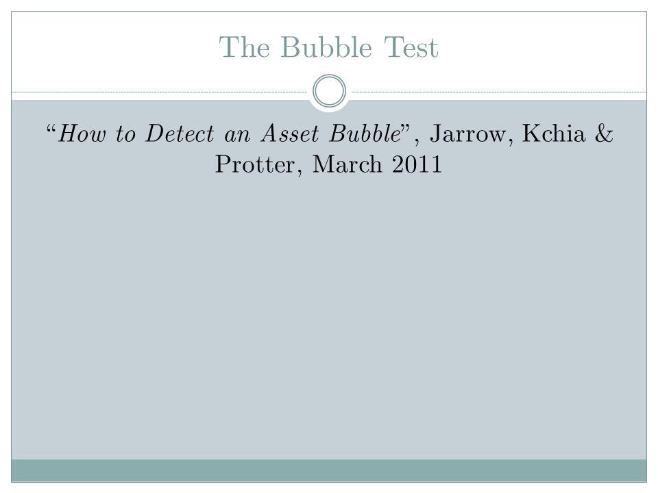 The Bubble Test Assumption : How to Detect an Asset Bubble, Jarrow, Kchia & Protter, March 2011