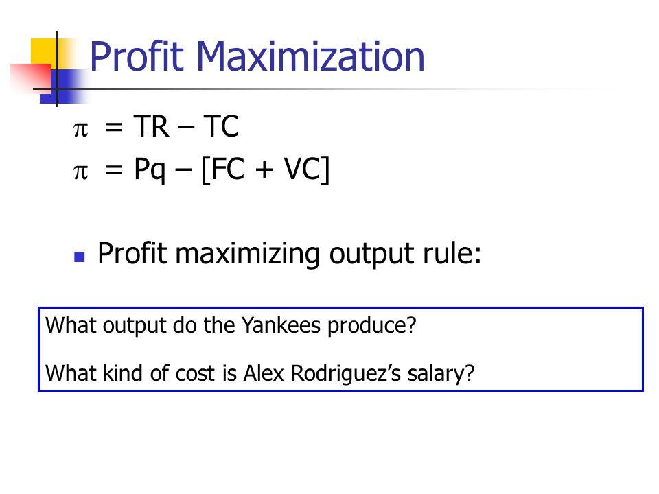 Profit Maximization = TR – TC = Pq – [FC + VC] Profit maximizing output rule: MR=MC What output do the Yankees produce? [tickets? games? wins?] What k