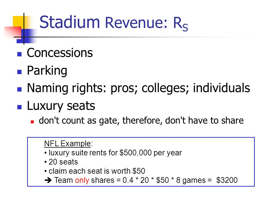 Stadium Revenue: R S Concessions Parking Naming rights: pros; colleges; individuals Luxury seats don't count as gate, therefore, don't have to share N