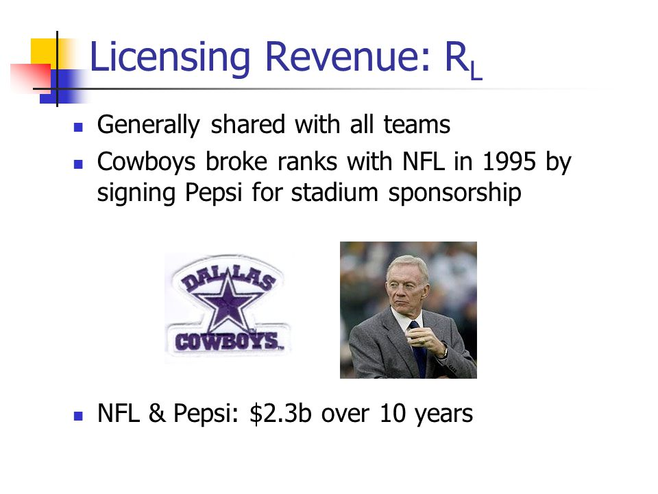 Licensing Revenue: R L Generally shared with all teams Cowboys broke ranks with NFL in 1995 by signing Pepsi for stadium sponsorship NFL & Pepsi: $2.3