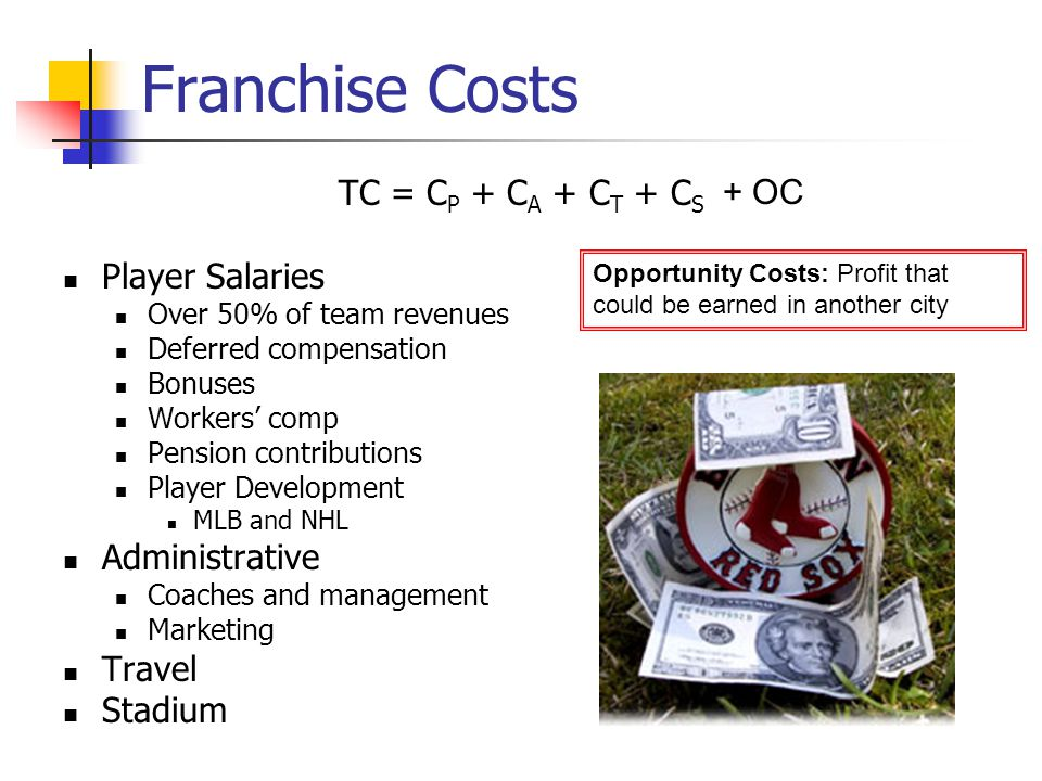 Franchise Costs TC = C P + C A + C T + C S Player Salaries Over 50% of team revenues Deferred compensation Bonuses Workers comp Pension contributions