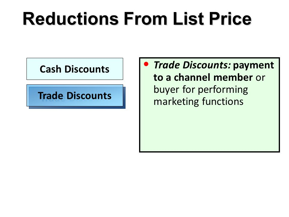 Reductions From List Price Cash Discounts Trade Discounts Trade Discounts: payment to a channel member or buyer for performing marketing functions
