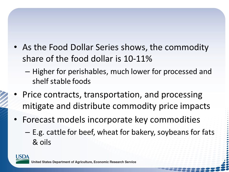 As the Food Dollar Series shows, the commodity share of the food dollar is 10-11% – Higher for perishables, much lower for processed and shelf stable