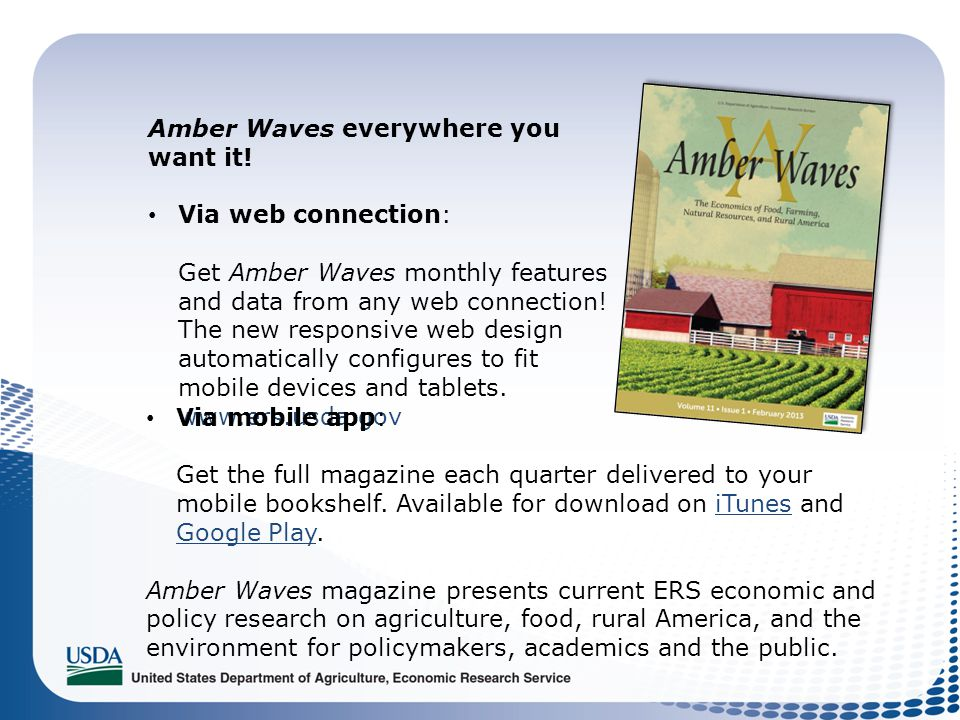 Amber Waves everywhere you want it! Via web connection: Get Amber Waves monthly features and data from any web connection! The new responsive web desi