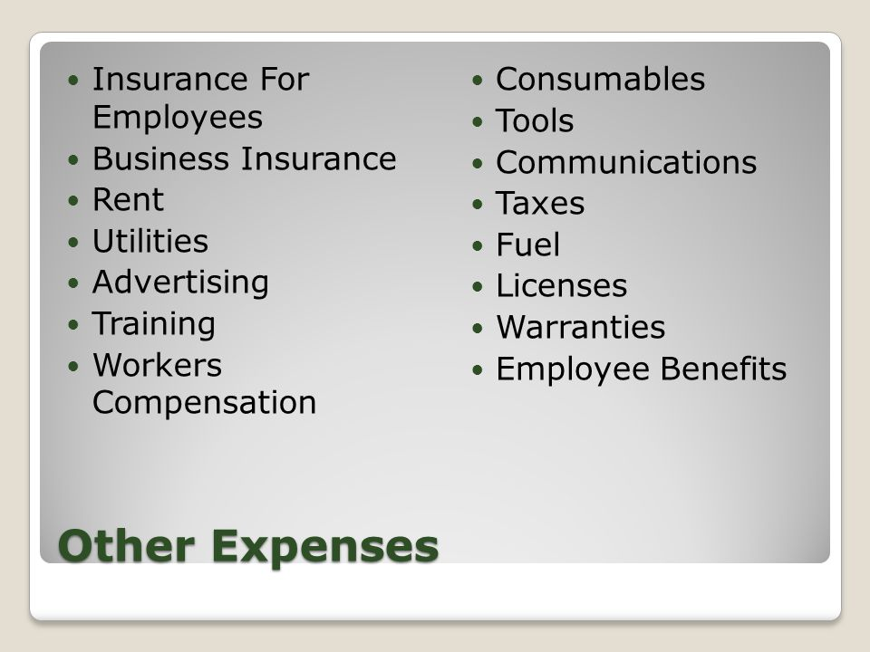 Other Expenses Insurance For Employees Business Insurance Rent Utilities Advertising Training Workers Compensation Consumables Tools Communications Taxes Fuel Licenses Warranties Employee Benefits