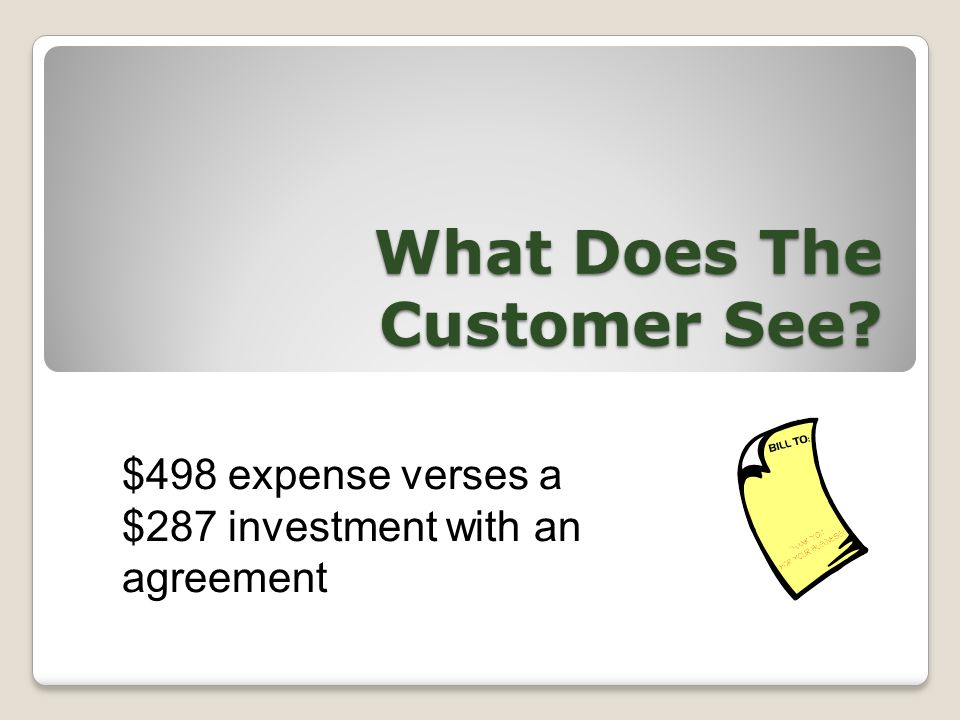 What Does The Customer See $498 expense verses a $287 investment with an agreement