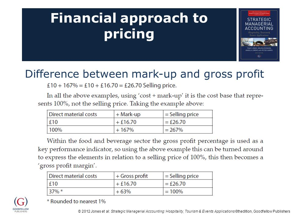 © 2012 Jones et al: Strategic Managerial Accounting: Hospitality, Tourism & Events Applications 6thedition, Goodfellow Publishers Financial approach to pricing Difference between mark-up and gross profit