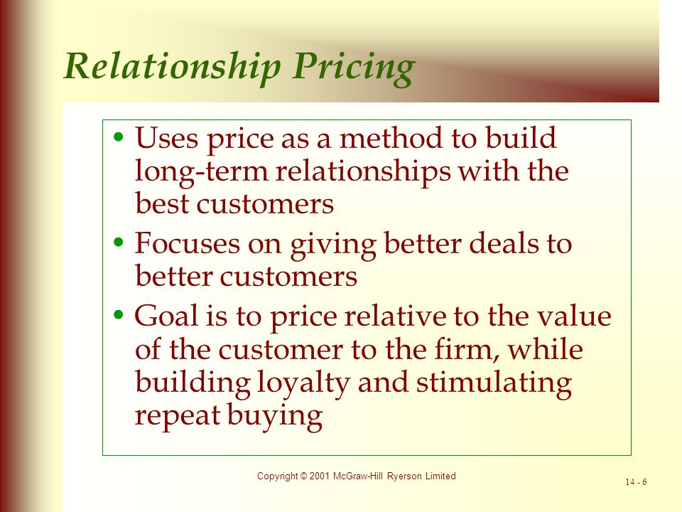 Copyright © 2001 McGraw-Hill Ryerson Limited 14 - 7 The Price Determination Process In pricing, an organization first must decide on its pricing goal.