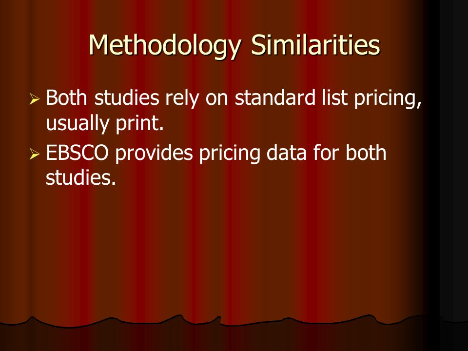 Methodology Similarities Both studies rely on standard list pricing, usually print.