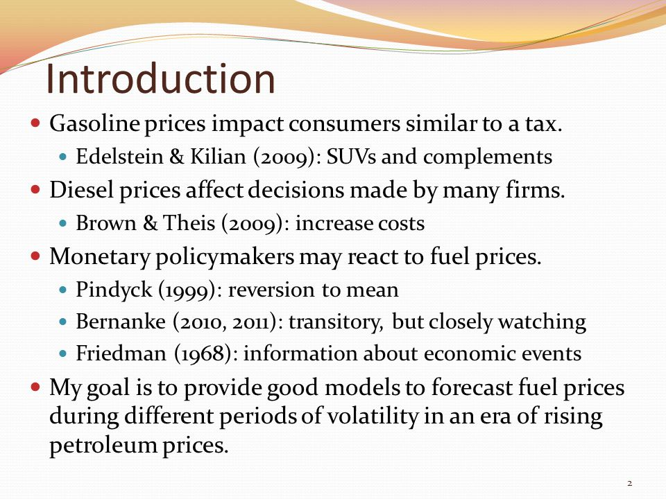 Introduction Gasoline prices impact consumers similar to a tax. Edelstein & Kilian (2009): SUVs and complements Diesel prices affect decisions made by