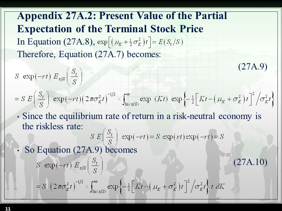 Appendix 27A.2: Present Value of the Partial Expectation of the Terminal Stock Price In Equation (27A.8), Therefore, Equation (27A.7) becomes: (27A.9) Since the equilibrium rate of return in a risk-neutral economy is the riskless rate: So Equation (27A.9) becomes (27A.10) 11