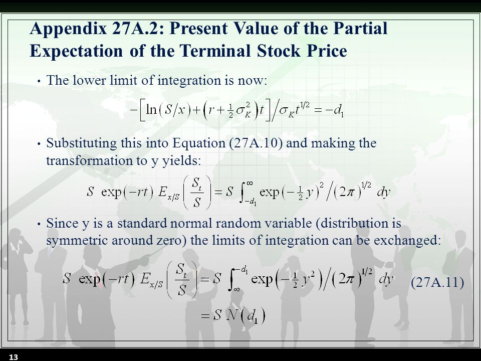 Appendix 27A.2: Present Value of the Partial Expectation of the Terminal Stock Price The lower limit of integration is now: Substituting this into Equation (27A.10) and making the transformation to y yields: Since y is a standard normal random variable (distribution is symmetric around zero) the limits of integration can be exchanged: (27A.11) 13