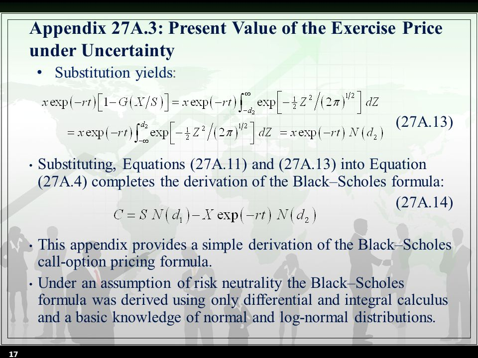 (27A.13) Substituting, Equations (27A.11) and (27A.13) into Equation (27A.4) completes the derivation of the Black–Scholes formula: (27A.14) This appendix provides a simple derivation of the Black–Scholes call-option pricing formula.