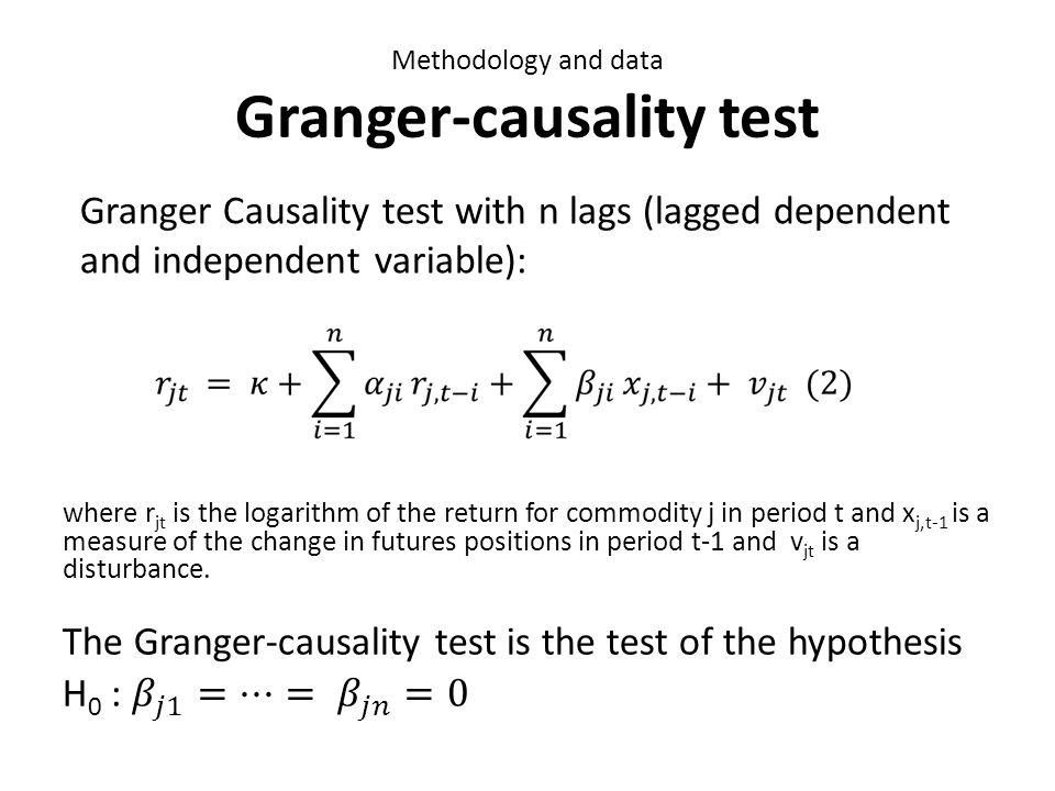 Methodology and data Granger-causality test Granger Causality test with n lags (lagged dependent and independent variable):