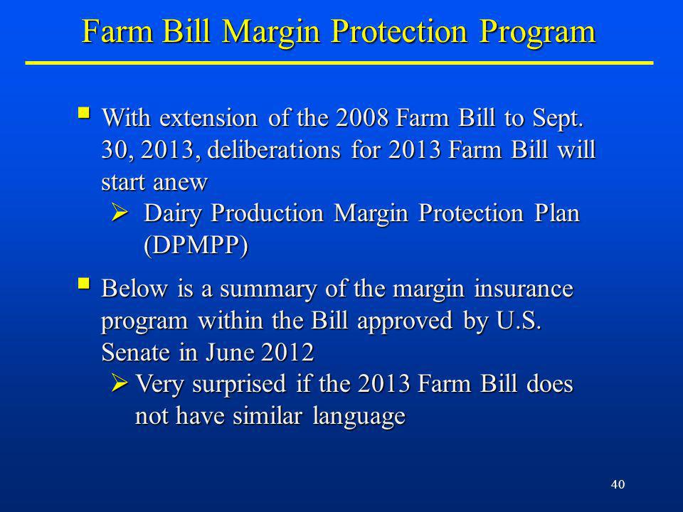 40 With extension of the 2008 Farm Bill to Sept.