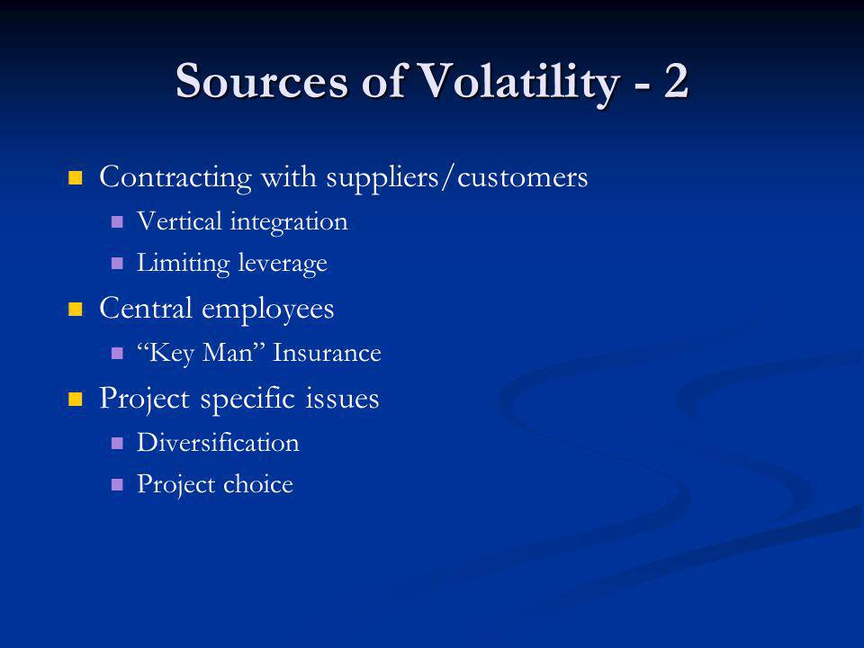 Sources of Volatility - 2 Contracting with suppliers/customers Vertical integration Limiting leverage Central employees Key Man Insurance Project specific issues Diversification Project choice