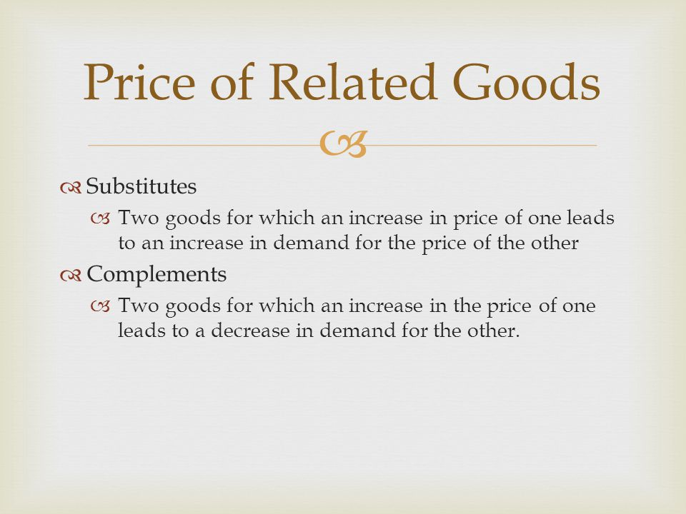 Substitutes Two goods for which an increase in price of one leads to an increase in demand for the price of the other Complements Two goods for which an increase in the price of one leads to a decrease in demand for the other.