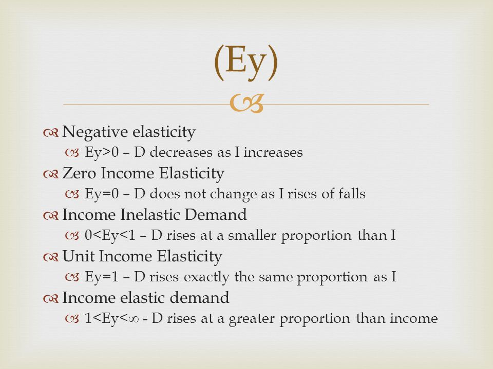 Negative elasticity Ey>0 – D decreases as I increases Zero Income Elasticity Ey=0 – D does not change as I rises of falls Income Inelastic Demand 0<Ey<1 – D rises at a smaller proportion than I Unit Income Elasticity Ey=1 – D rises exactly the same proportion as I Income elastic demand 1<Ey< - D rises at a greater proportion than income (Ey)