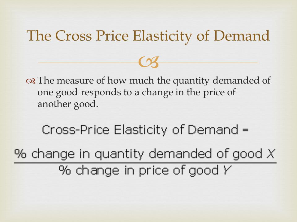 The measure of how much the quantity demanded of one good responds to a change in the price of another good.