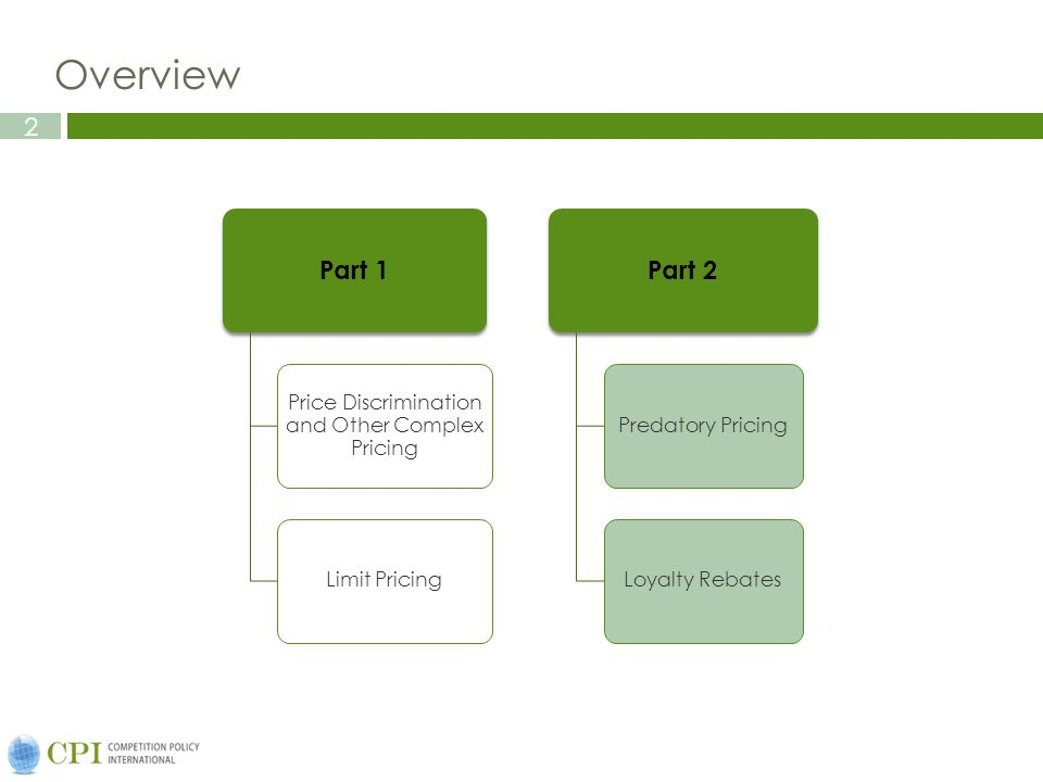 2 Overview Part 1 Price Discrimination and Other Complex Pricing Limit Pricing Part 2 Predatory Pricing Loyalty Rebates
