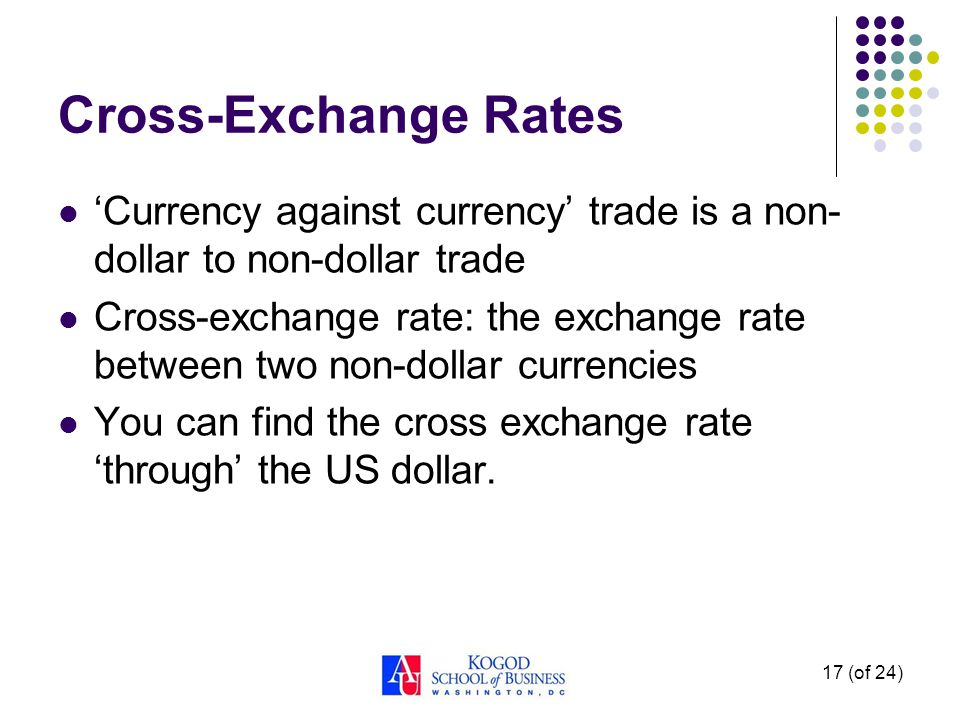 17 (of 24) Cross-Exchange Rates Currency against currency trade is a non- dollar to non-dollar trade Cross-exchange rate: the exchange rate between tw