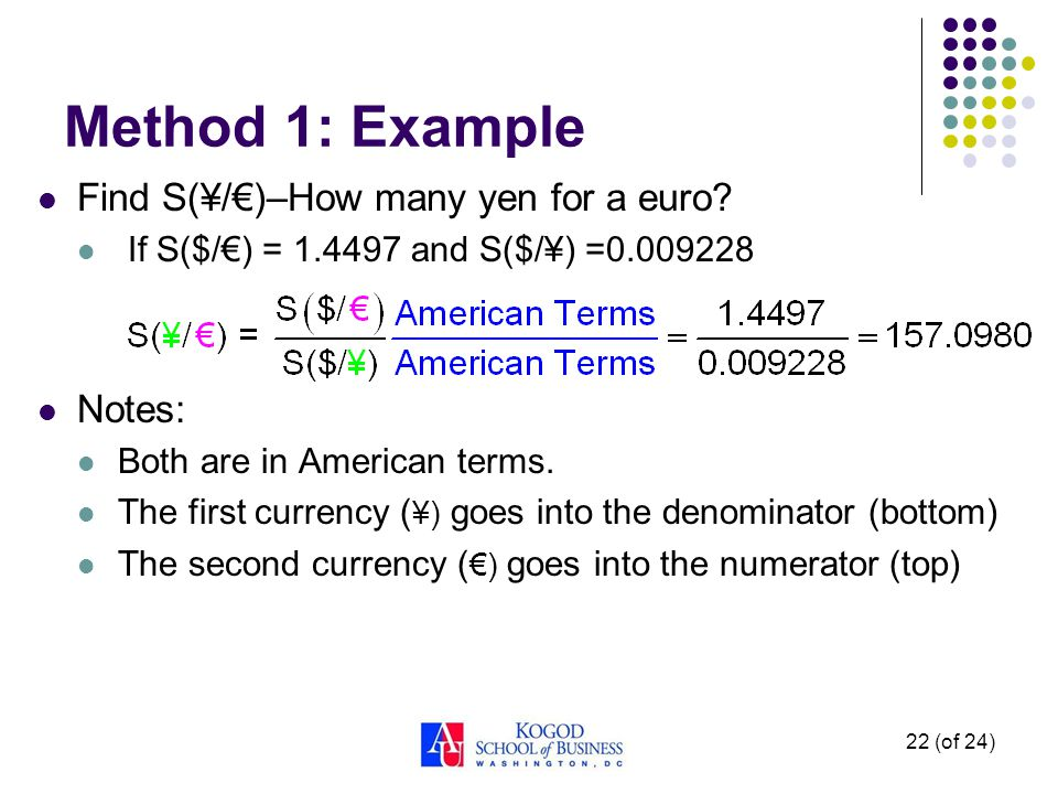 22 (of 24) Method 1: Example Find S(¥/)–How many yen for a euro? If S($/) = 1.4497 and S($/¥) =0.009228 Notes: Both are in American terms. The first c