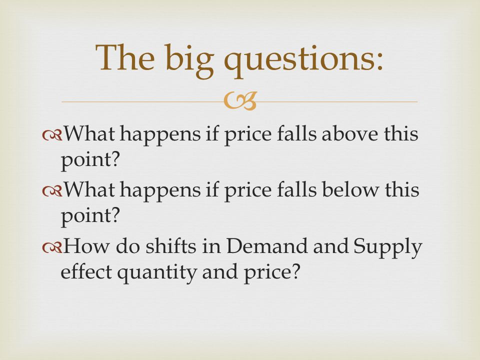 What happens if price falls above this point? What happens if price falls below this point? How do shifts in Demand and Supply effect quantity and pri