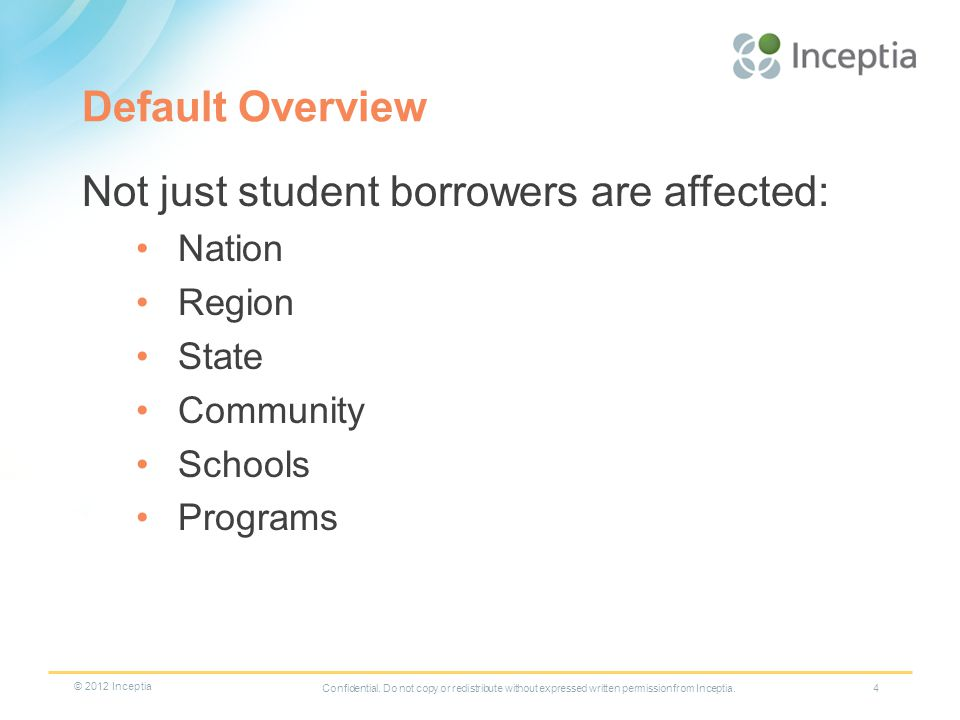 Default Overview Not just student borrowers are affected: Nation Region State Community Schools Programs 4Confidential.