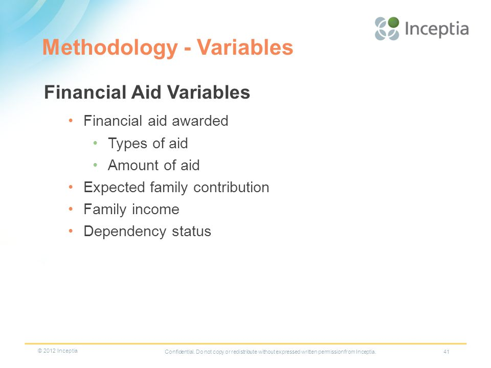 Methodology - Variables 41 Financial Aid Variables Financial aid awarded Types of aid Amount of aid Expected family contribution Family income Dependency status Confidential.