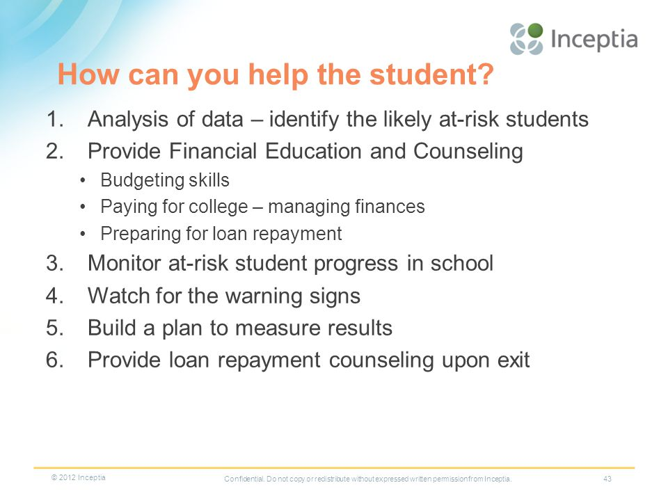 How can you help the student.