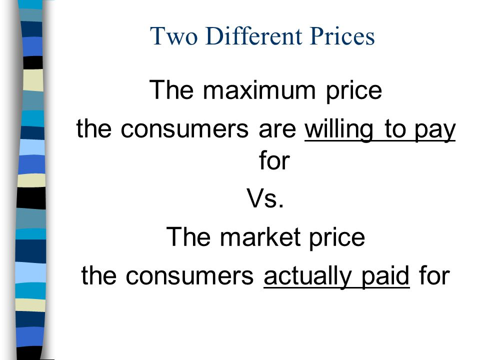 Two Different Prices The maximum price the consumers are willing to pay for Vs.