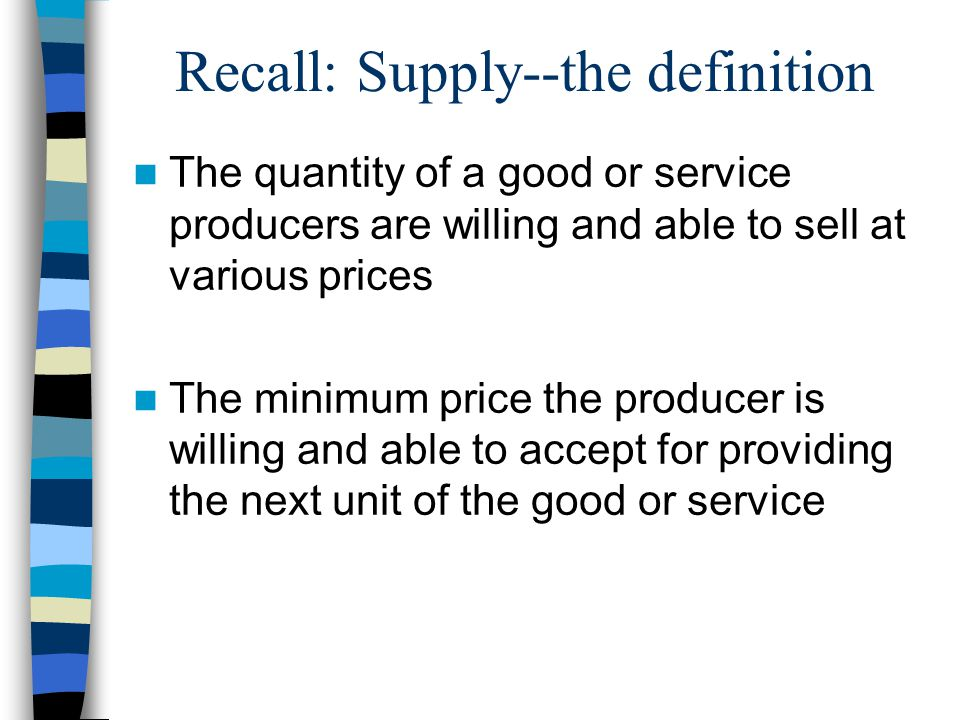 Recall: Supply--the definition The quantity of a good or service producers are willing and able to sell at various prices The minimum price the producer is willing and able to accept for providing the next unit of the good or service