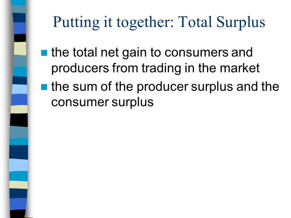 Putting it together: Total Surplus the total net gain to consumers and producers from trading in the market the sum of the producer surplus and the consumer surplus