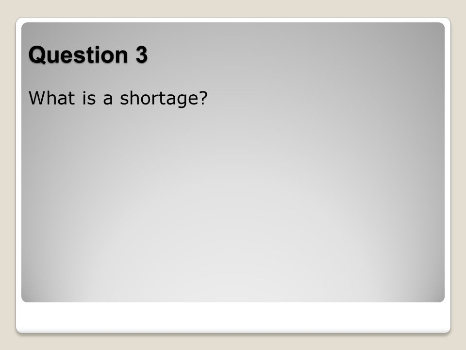 Question 3 What is a shortage