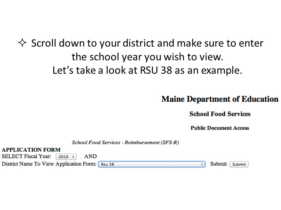 Scroll down to your district and make sure to enter the school year you wish to view. Lets take a look at RSU 38 as an example.