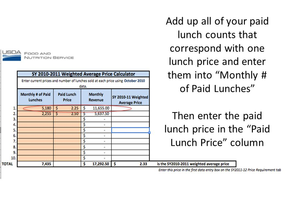 Add up all of your paid lunch counts that correspond with one lunch price and enter them into Monthly # of Paid Lunches Then enter the paid lunch pric