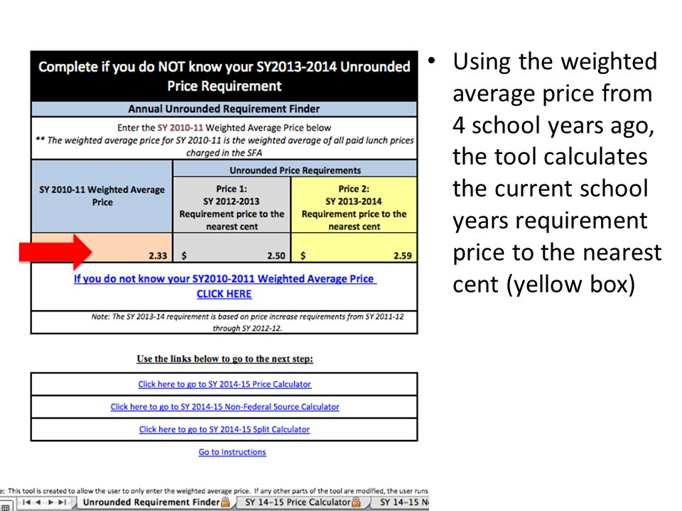 Using the weighted average price from 4 school years ago, the tool calculates the current school years requirement price to the nearest cent (yellow b