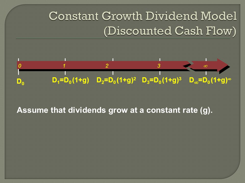 Assume that dividends grow at a constant rate (g).