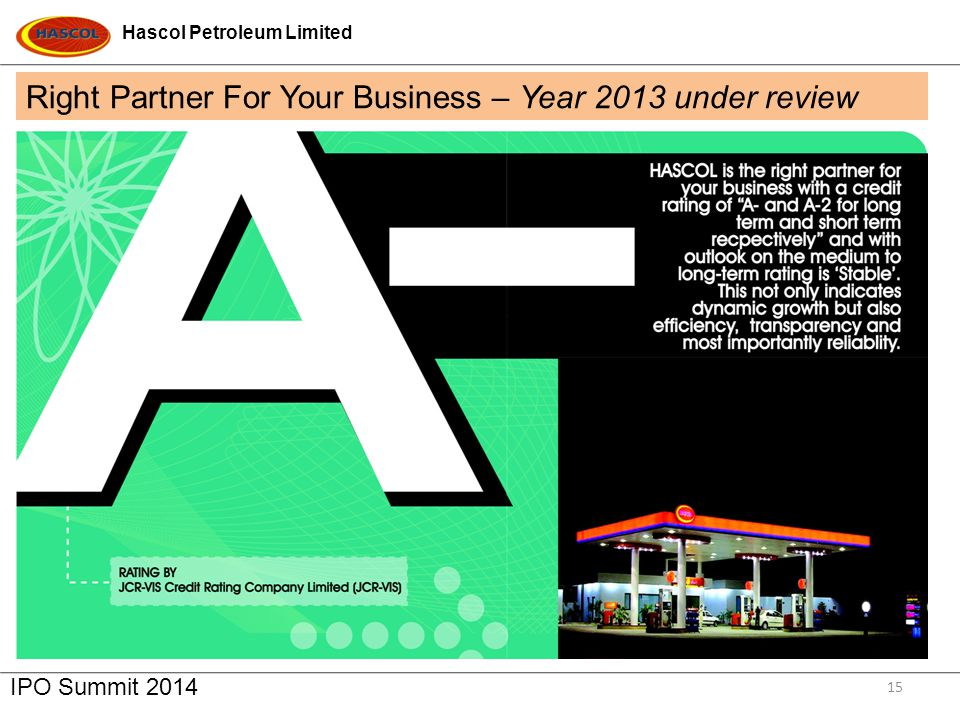 Hascol Petroleum Limited IPO Summit 2014 15 Right Partner For Your Business – Year 2013 under review