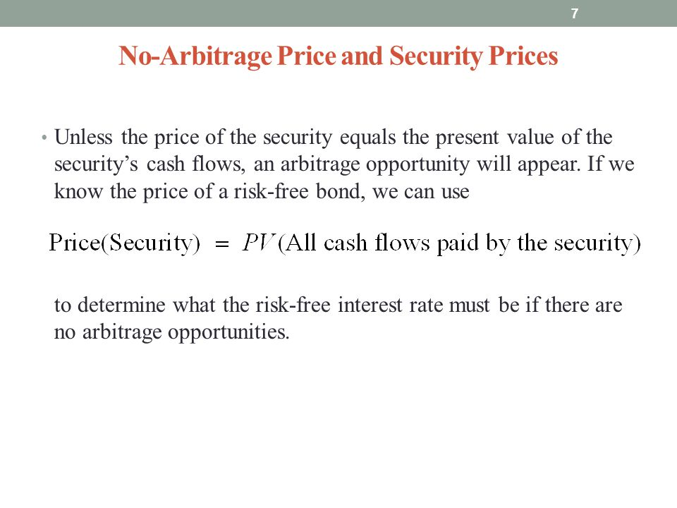 No-Arbitrage Price and Security Prices Unless the price of the security equals the present value of the securitys cash flows, an arbitrage opportunity