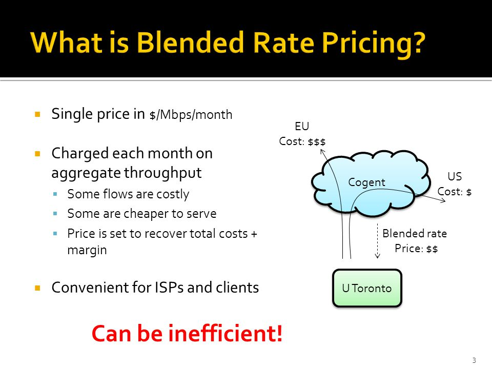 Single price in $/Mbps/month Charged each month on aggregate throughput Some flows are costly Some are cheaper to serve Price is set to recover total costs + margin Convenient for ISPs and clients 3 Cogent EU Cost: $$$ US Cost: $ Blended rate Price: $$ U Toronto Can be inefficient!