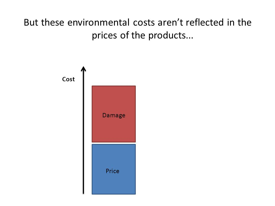 But these environmental costs arent reflected in the prices of the products... Price Damage Cost