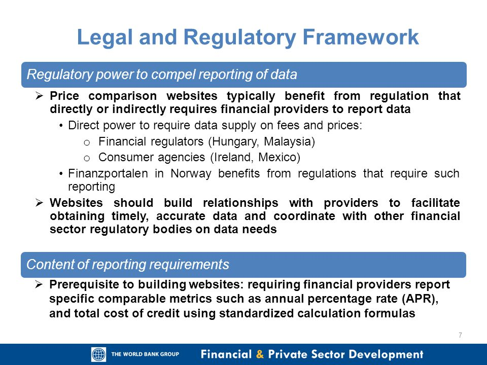 Regulatory power to compel reporting of data Price comparison websites typically benefit from regulation that directly or indirectly requires financia