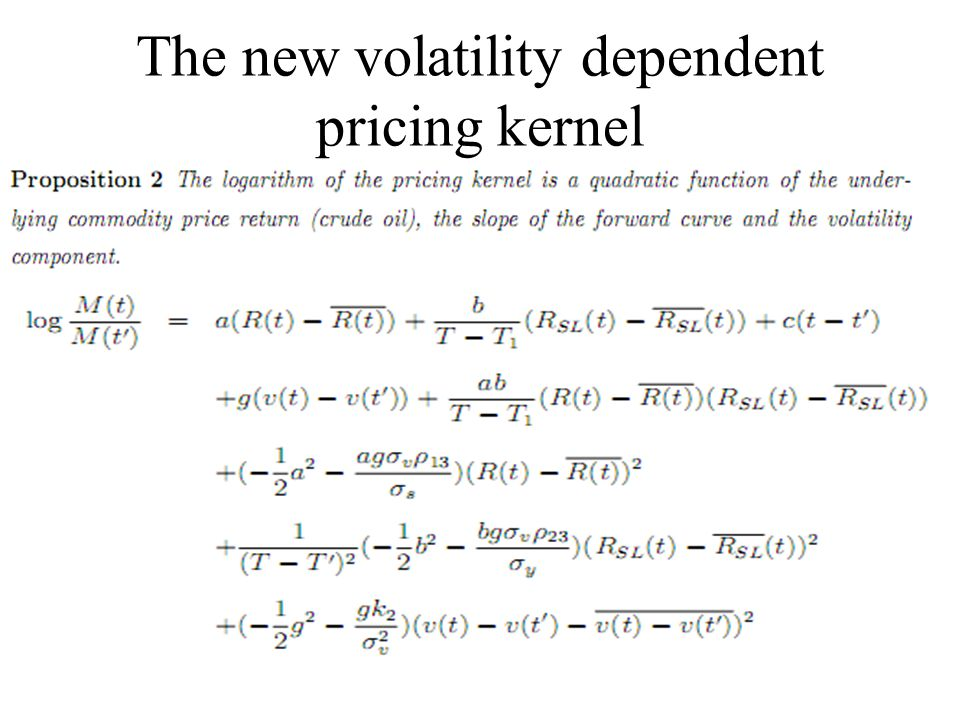 The new volatility dependent pricing kernel