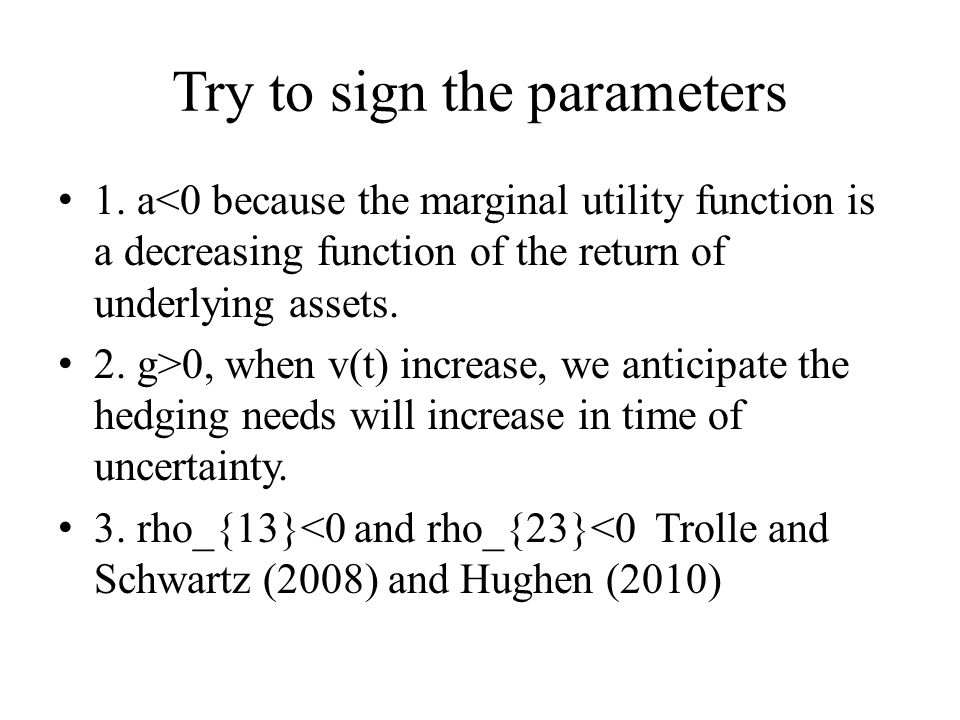 Try to sign the parameters 1. a<0 because the marginal utility function is a decreasing function of the return of underlying assets. 2. g>0, when v(t)
