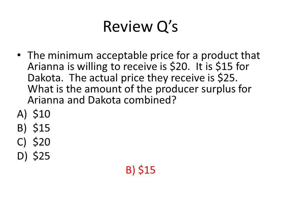 Review Qs The minimum acceptable price for a product that Arianna is willing to receive is $20.
