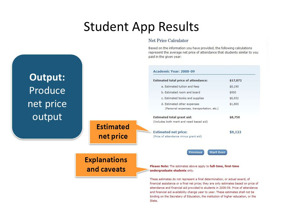 Output: Produce net price output Student App Results Explanations and caveats Estimated net price