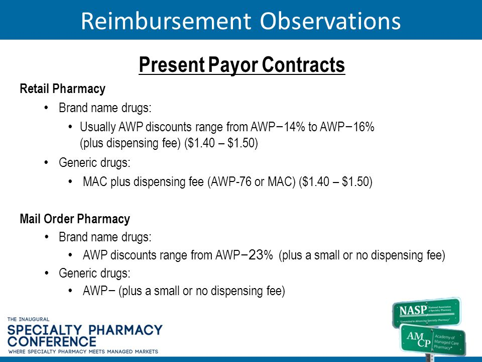 Reimbursement Observations Present Payor Contracts Retail Pharmacy Brand name drugs: Usually AWP discounts range from AWP 14% to AWP 16% (plus dispens